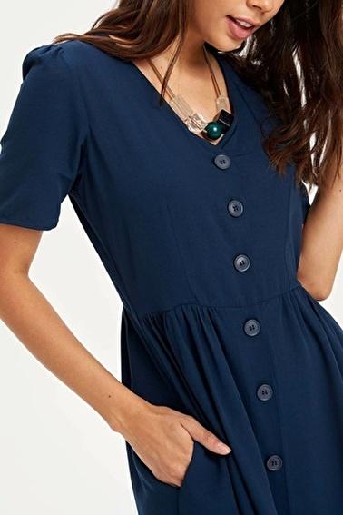 DeFacto V Yakalı Düğmeli Elbise Lacivert